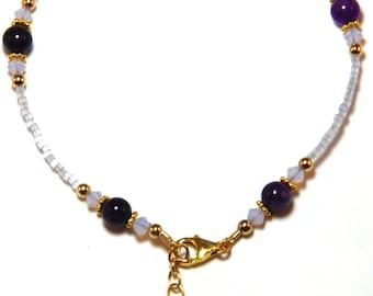Amethyst Gold Filled Ankle Bracelet