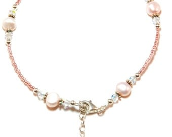 Pink Freshwater Pearl Sterling Silver Ankle Bracelet
