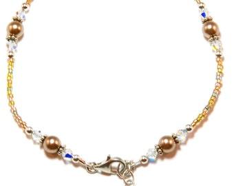 Bronze Pearl Sterling Silver Ankle Bracelet