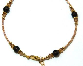 Smoky Quartz Gold Filled Ankle Bracelet