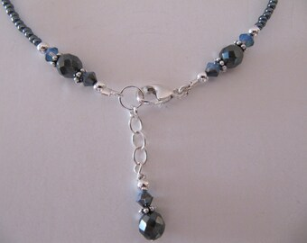 Hematite Sterling Silver Ankle Bracelet