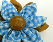 Blue Plaid/Brown Flower (free shipping)