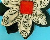 Black-White Swirly/Black Flower (free shipping)