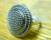 Textured Silver Button Ring (free shipping)