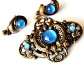 Vintage Antique Czech Art Nouveau Repousse Blue GlassbBrooch and Earrings