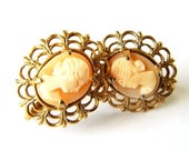HandCarved Shell Cameo Vintage Earrings