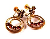 Vintage Red Rhinestone Hoop Earrings Gold Tone - Screw Back