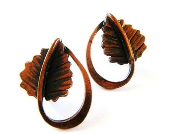 Vintage Rebajes Copper Modernist Leaf Earrings Screw On Signed