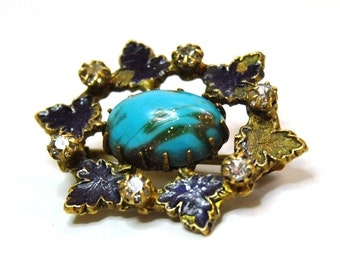 Antique Victorian Pin Enameled Ivy Glass Turquoise Sentimental Jewelry 1800s Brooch