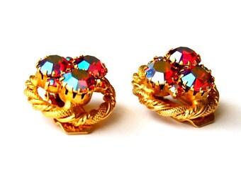 Aurora Borealis Rhinestone Vintage Earrings
