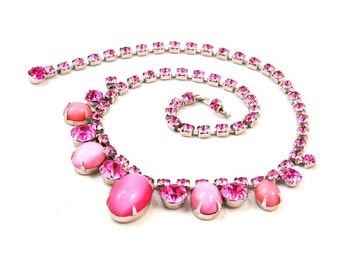Vintage Juliana Style Necklace Pink Moonglow