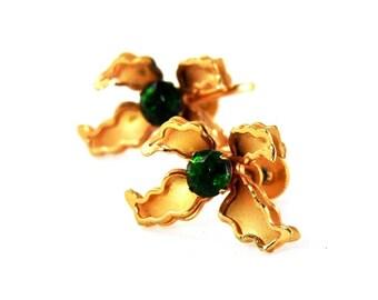Vintage Bugbee & Niles Rhinestone Flower Earrings
