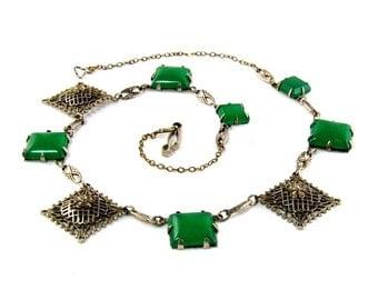 1920s Art Deco Peking Glass Gilt Filigree Choker Necklace