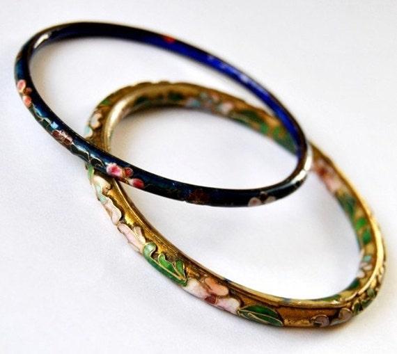 Floral Cloisonne Vintage Bangle Bracelets - 2