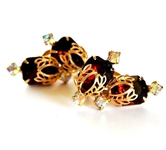 Topaz Rhinestone & Filigree Vintage Earrings
