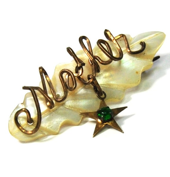 """Antique Victorian """"Mother"""" Pin Brooch Mother of Pearl Wire Work Green Paste Stone"""