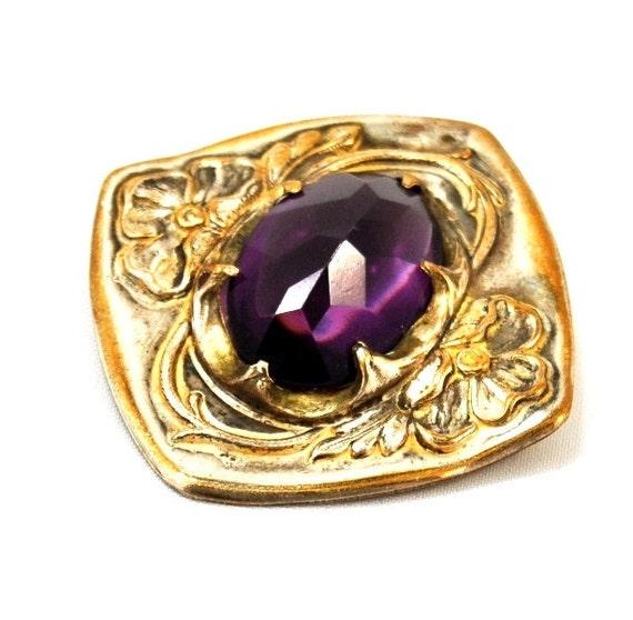 Art Nouveau Antique Floral Amethyst Glass Brooch -Old C Clasp