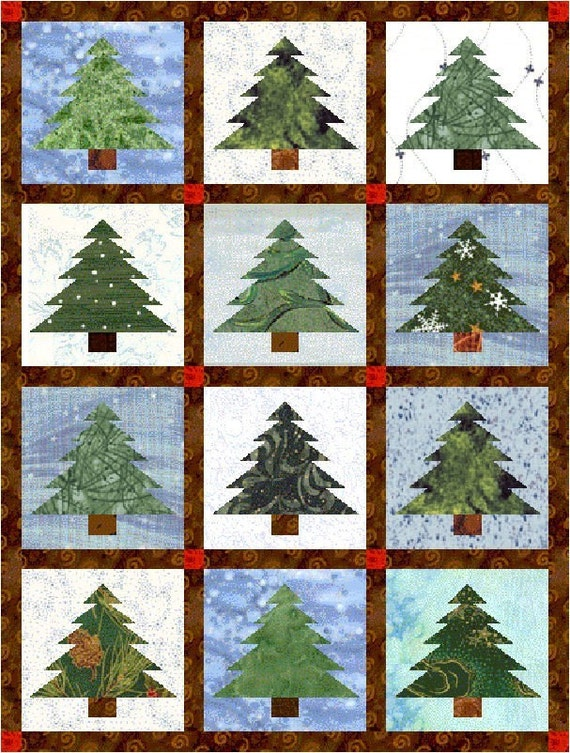 Items Similar To Pine Tree Quilt Block Pattern Multi Size
