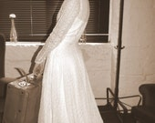 Estate Gown. 1930s Deco Cotton Lace Wedding Dress. Pristine. Irish descent. TITANIC ESQ.