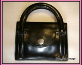 Authentic. Verified Original HERMES Deco 30s Black Leather Bag.