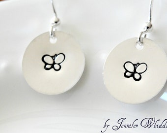 Butterfly Earrings, Sterling Silver Butterfly Earrings, Hand Stamped Butterfly Earrings, Earrings