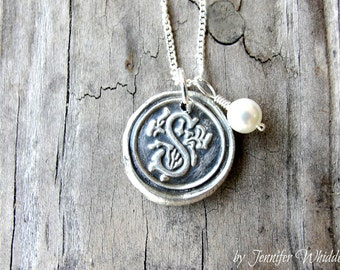 SALE- Wax Seal Initial Necklace - Custom Necklace- Personalized Necklace