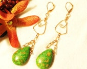 Handmade Copper Wired Dangle Earrings With Green Turquoise Teardrop Bead