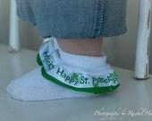 St. Patty's Day Ribbon Ruffle Socks Size Newborn through 5T