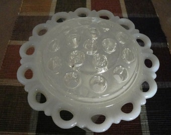 Five Inch Frog with Milk Glass Dish