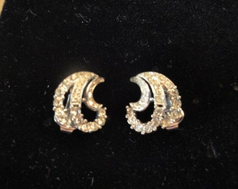 Trifari Rhinestone Swirl Earrings