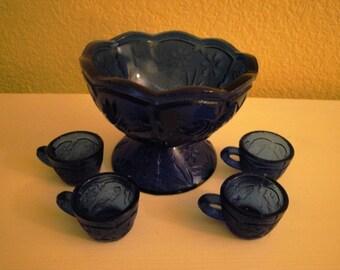 Saleman Sample Blue Punch Bowl Set