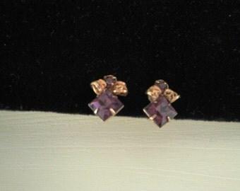 Purple Rhinestone Earrings