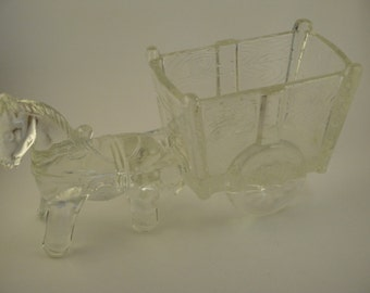 Large Glass Horse and Wagon