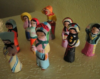 Set of 9 Clay Figurines