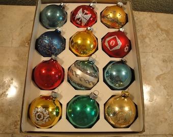 Set of Twelve Mercury Glass Ornaments