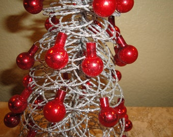 Silver Glitter Tree with Red Feather Tree Ornaments