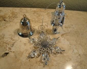 Three Silvertone Ornaments
