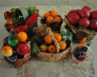 Set of Seven Basket Ornaments