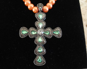 Crushed Shell Pearl Necklace with Large Rhinestone Cross