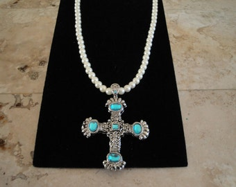 Turquoise Rhinestone Cross and Pearl Necklace