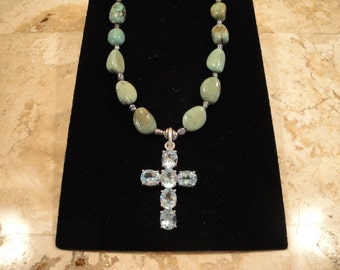 Turquoise Dark Pearl Necklace and Blue Topaz Cross Pendant