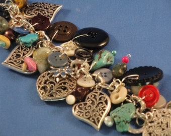 Heart Charms and Buttons Bracelet