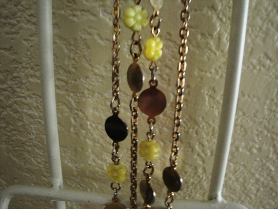 Long Style Necklace with Yellow Flowers