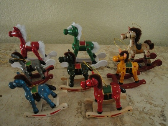 Eight Rocking Horse Ornaments