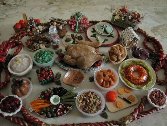 To Scale Miniature Holiday Meal on Platter