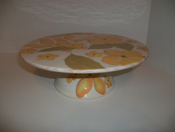 Vintage Yellow Flower Cake Pedestal Stand