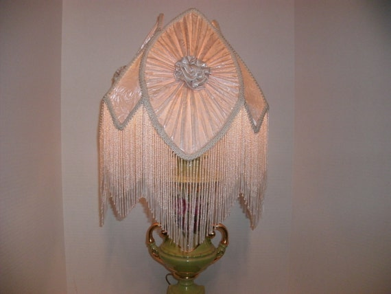 Vintage Victorian Style Lamp With Material And Beaded Lamp Shade