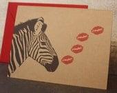 Zebra Kiss note card