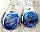 Expressionist blown glass earrings - twilight cobalt amber and gold