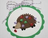 Hedgehog christmas tags / gift tags - holiday tags, hedgehog in lights, set of 6